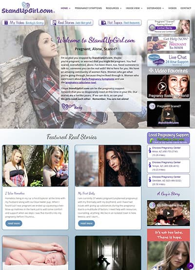 StandUpGirl.com pregnancy centers